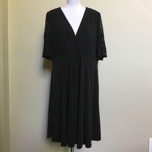 TORRID black jersey sheer Lace midi dress 2 18/20